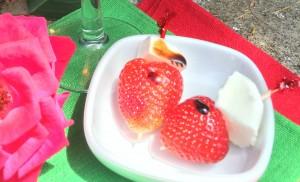 Spiedini di fragole e mozzarella