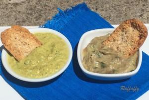 Crema di melanzane e menta & crema di zucchine al curry