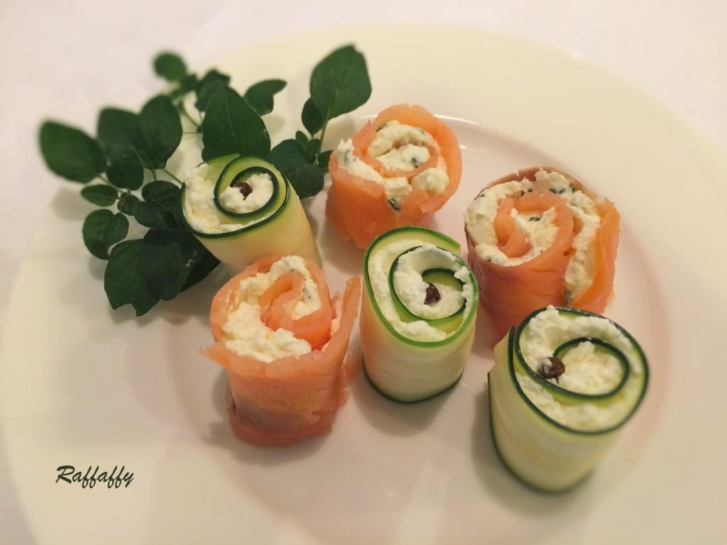 spirali di zucchine e salmone alla robiola