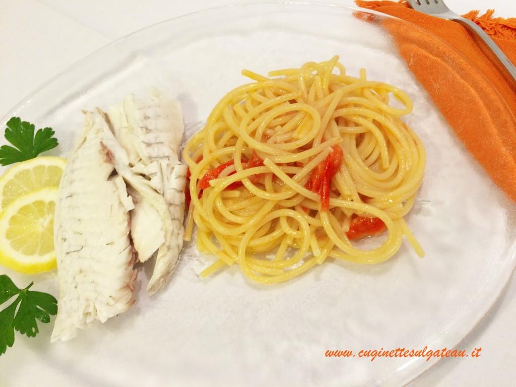 orata all'acqua pazza con spaghetti con cottura a risotto